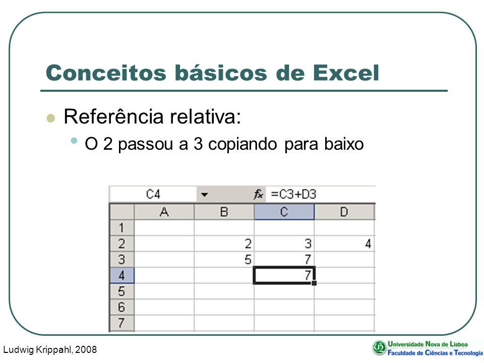 Ludwig Krippahl, 2008 53 Conceitos básicos de Excel Referência relativa: O 2 passou a 3 copiando para baixo