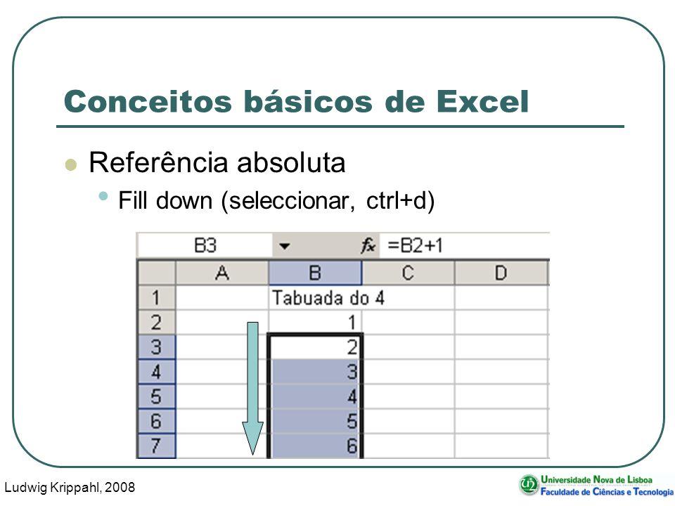 Ludwig Krippahl, 2008 55 Conceitos básicos de Excel Referência absoluta Fill down (seleccionar, ctrl+d)