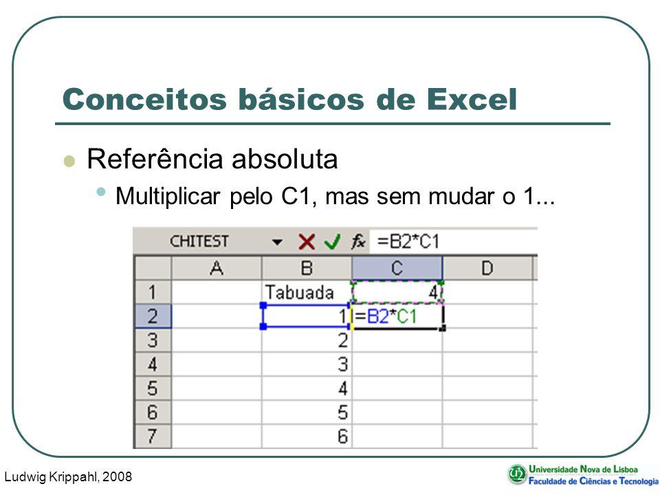 Ludwig Krippahl, 2008 56 Conceitos básicos de Excel Referência absoluta Multiplicar pelo C1, mas sem mudar o 1...