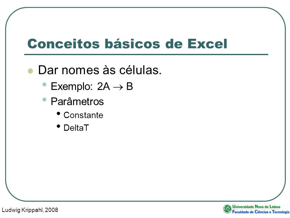 Ludwig Krippahl, 2008 59 Conceitos básicos de Excel Dar nomes às células.