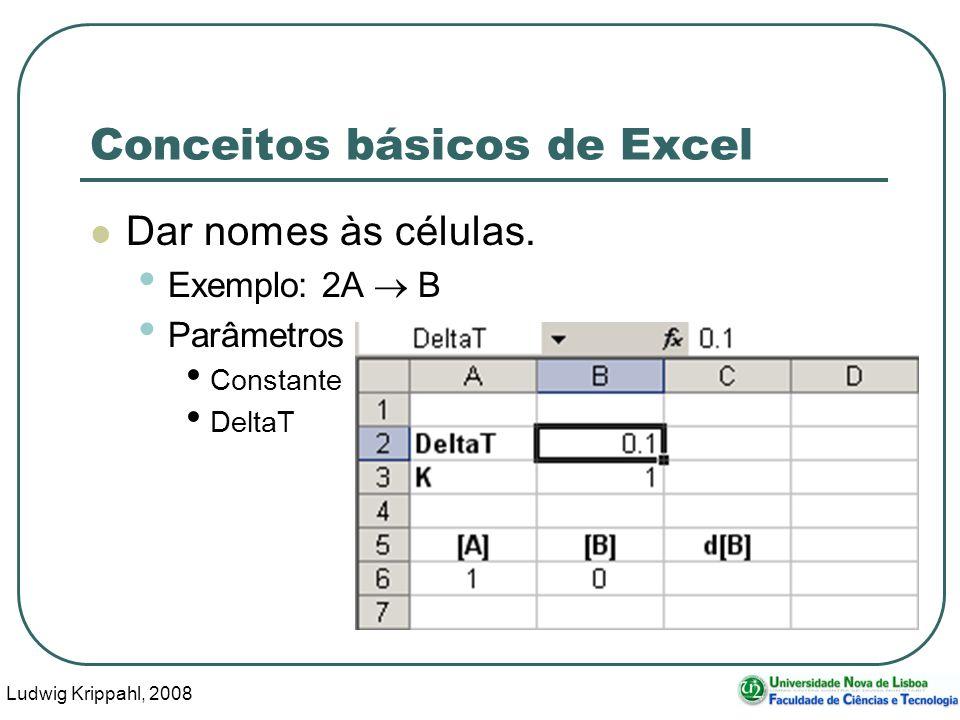 Ludwig Krippahl, 2008 61 Conceitos básicos de Excel Dar nomes às células.