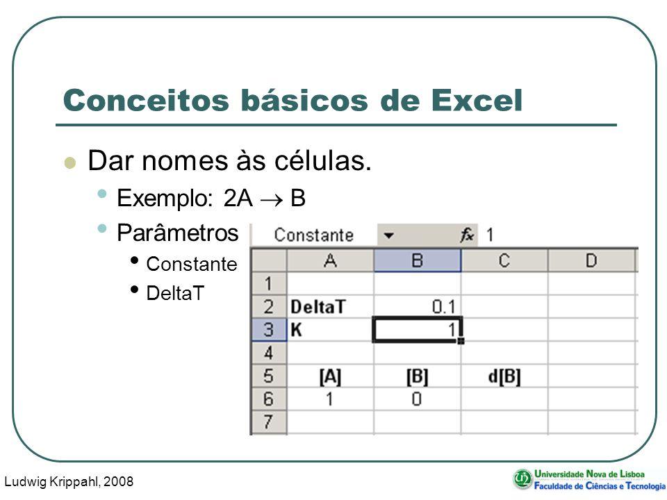Ludwig Krippahl, 2008 62 Conceitos básicos de Excel Dar nomes às células.