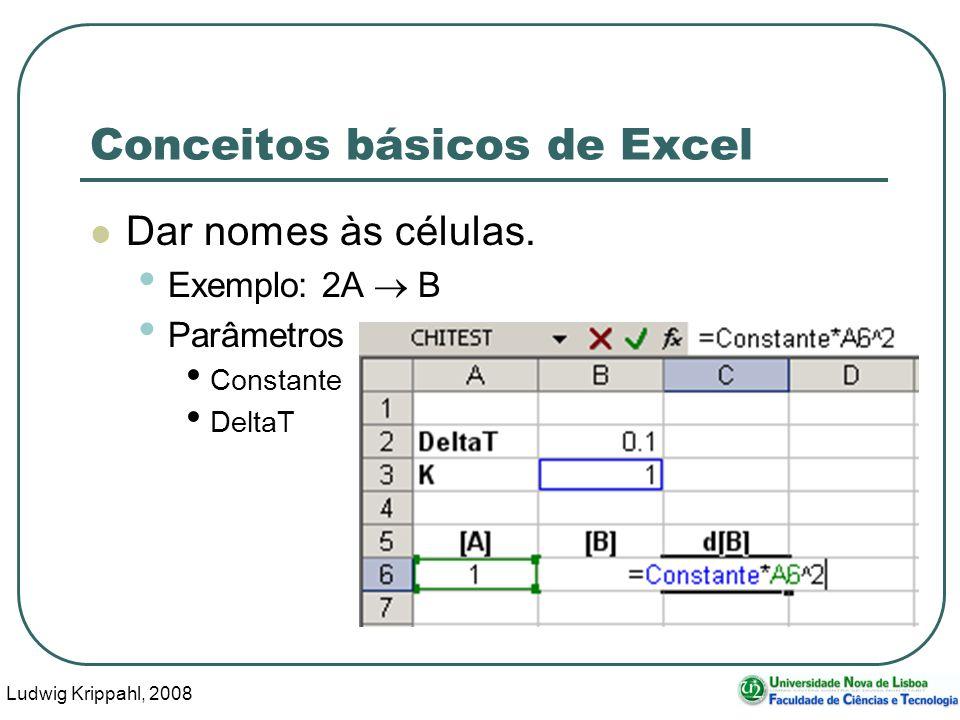 Ludwig Krippahl, 2008 63 Conceitos básicos de Excel Dar nomes às células.