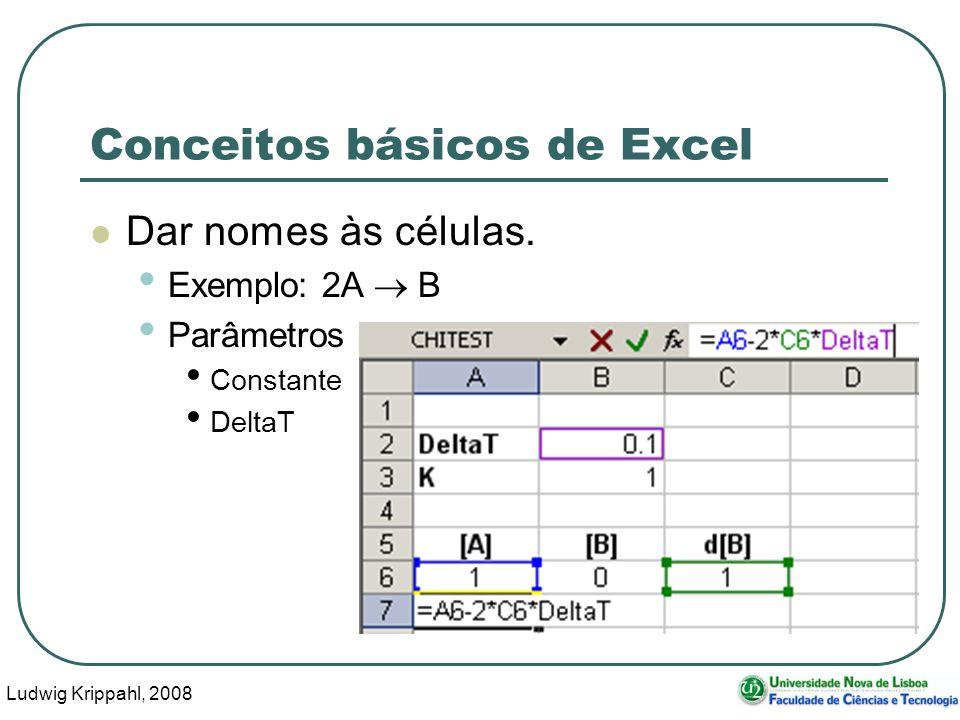 Ludwig Krippahl, 2008 64 Conceitos básicos de Excel Dar nomes às células.
