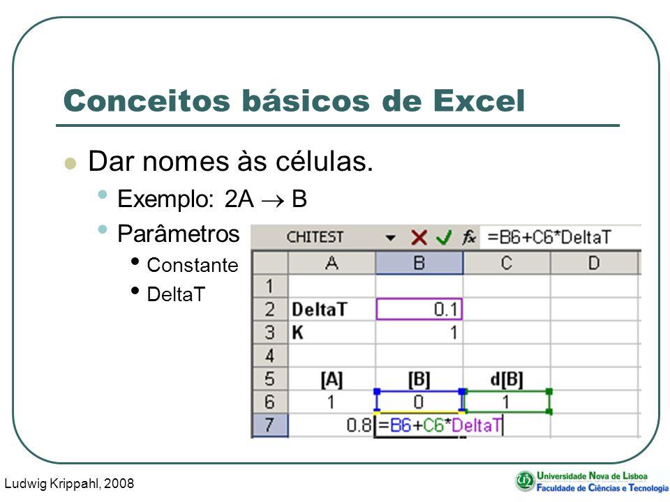 Ludwig Krippahl, 2008 65 Conceitos básicos de Excel Dar nomes às células.