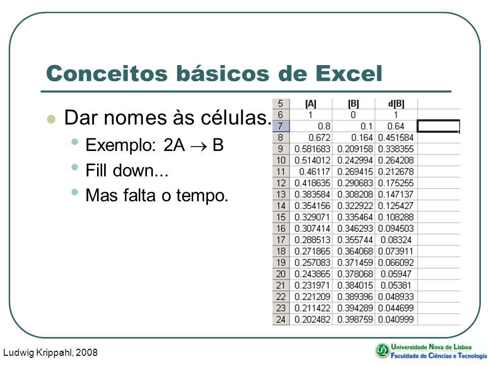 Ludwig Krippahl, 2008 67 Conceitos básicos de Excel Dar nomes às células.