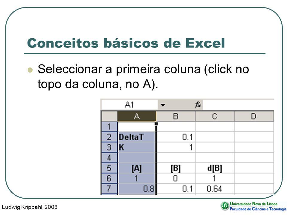 Ludwig Krippahl, 2008 68 Conceitos básicos de Excel Seleccionar a primeira coluna (click no topo da coluna, no A).