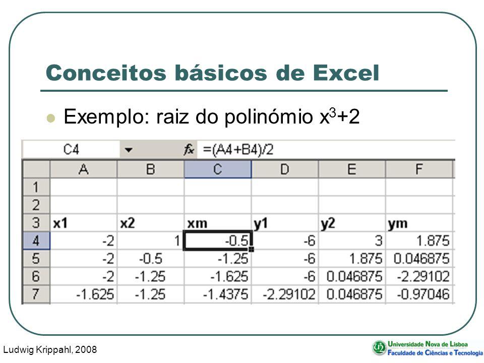 Ludwig Krippahl, 2008 74 Conceitos básicos de Excel Exemplo: raiz do polinómio x 3 +2