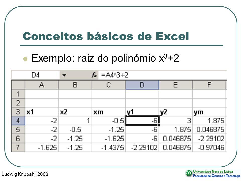 Ludwig Krippahl, 2008 75 Conceitos básicos de Excel Exemplo: raiz do polinómio x 3 +2