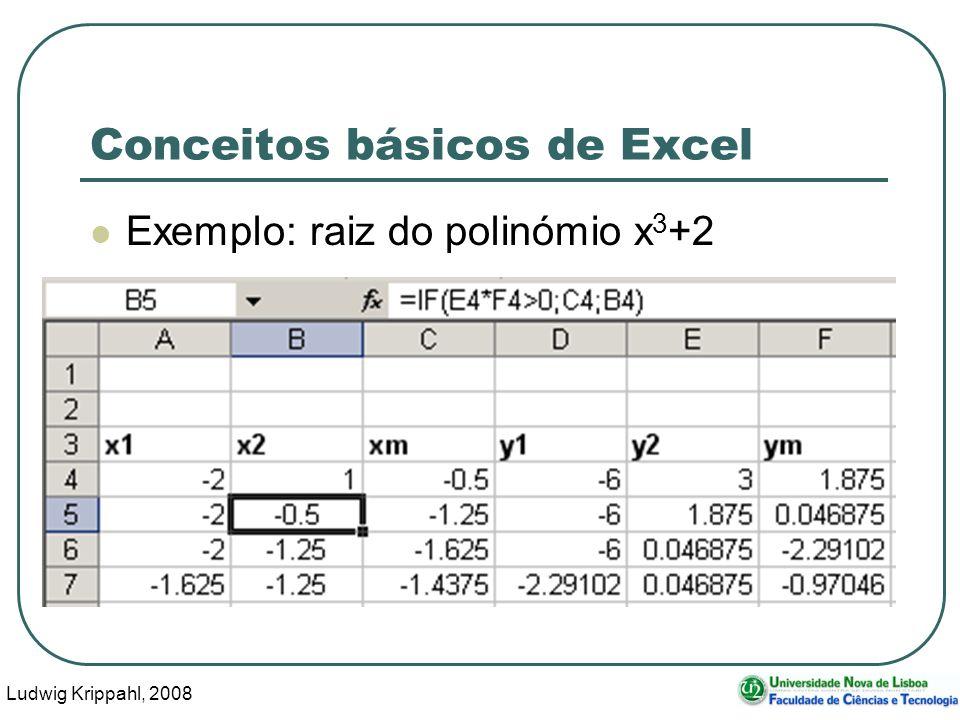 Ludwig Krippahl, 2008 77 Conceitos básicos de Excel Exemplo: raiz do polinómio x 3 +2