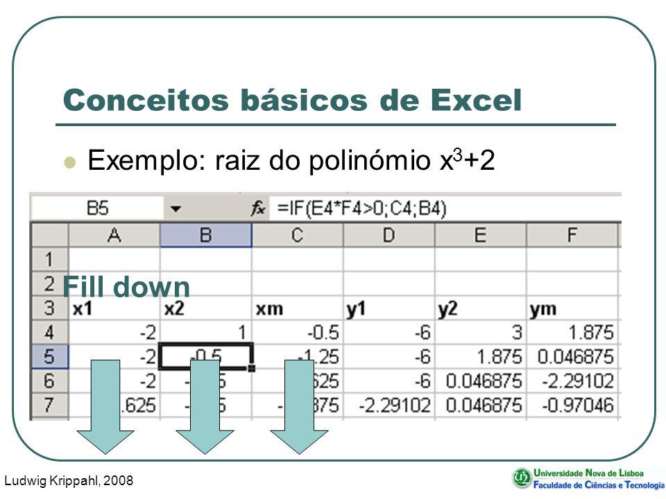 Ludwig Krippahl, 2008 78 Conceitos básicos de Excel Exemplo: raiz do polinómio x 3 +2 Fill down