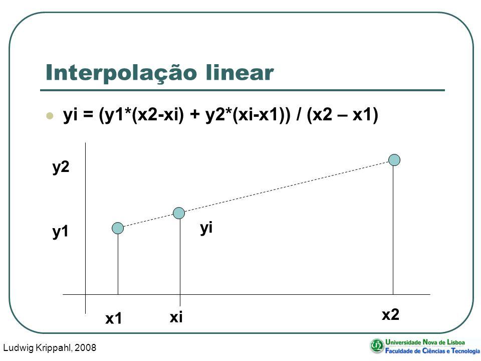 Ludwig Krippahl, 2008 8 Interpolação linear yi = (y1*(x2-xi) + y2*(xi-x1)) / (x2 – x1) xi x1 x2 y1 y2 yi