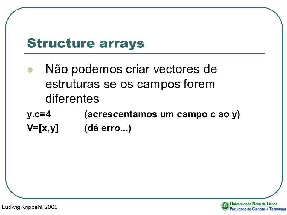 Ludwig Krippahl, 2008 11 Structure arrays Não podemos criar vectores de estruturas se os campos forem diferentes y.c=4(acrescentamos um campo c ao y) V=[x,y](dá erro...)