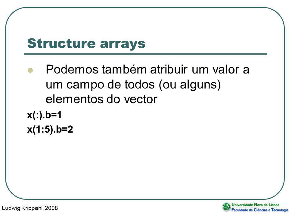 Ludwig Krippahl, 2008 14 Structure arrays Podemos também atribuir um valor a um campo de todos (ou alguns) elementos do vector x(:).b=1 x(1:5).b=2
