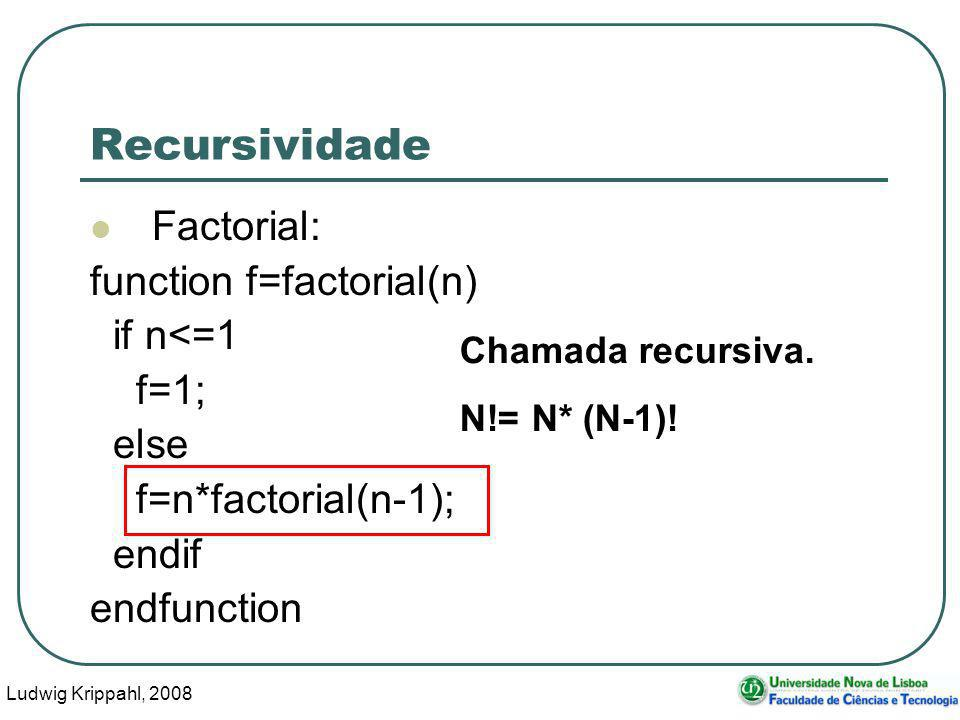 Ludwig Krippahl, 2008 35 Recursividade Factorial: function f=factorial(n) if n<=1 f=1; else f=n*factorial(n-1); endif endfunction Chamada recursiva.