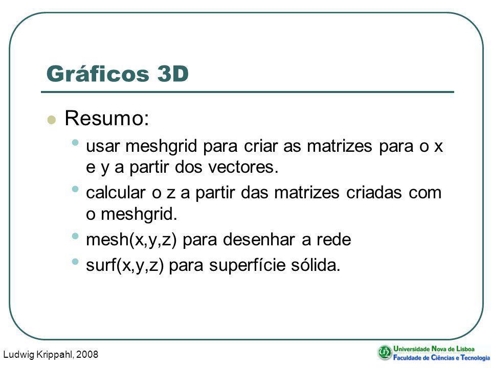 Ludwig Krippahl, 2008 51 Gráficos 3D Resumo: usar meshgrid para criar as matrizes para o x e y a partir dos vectores.