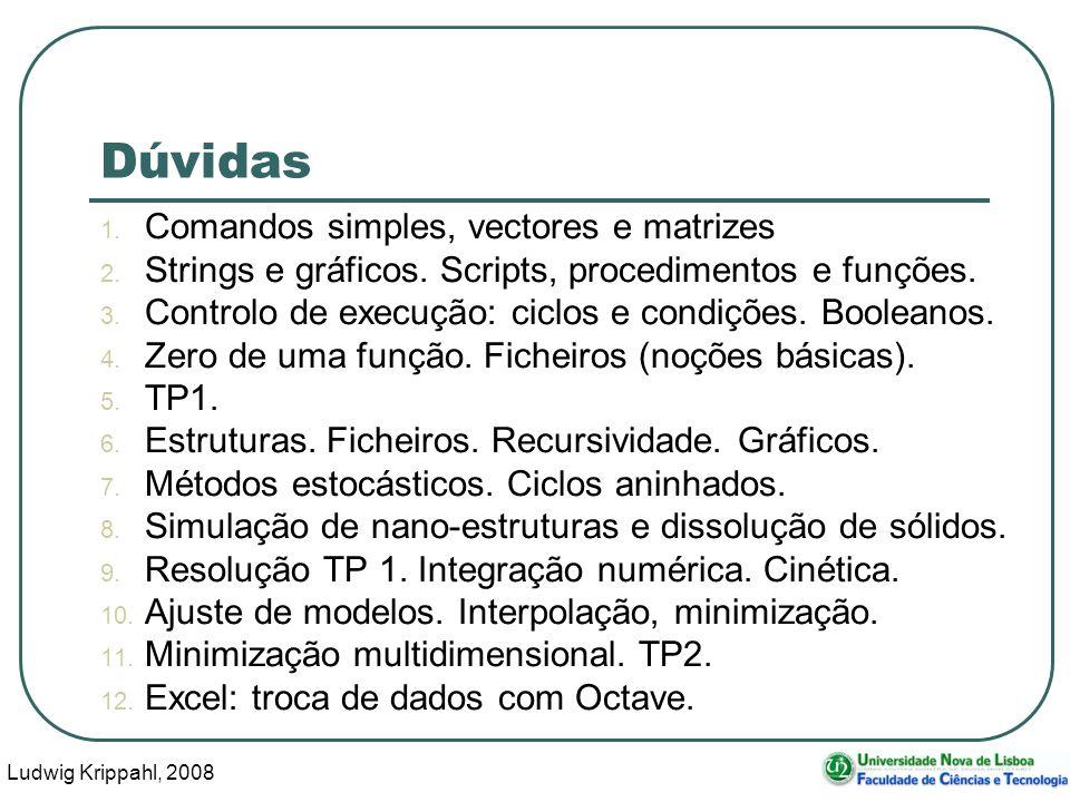 Ludwig Krippahl, 2008 25 Dúvidas 1. Comandos simples, vectores e matrizes 2. Strings e gráficos. Scripts, procedimentos e funções. 3. Controlo de exec