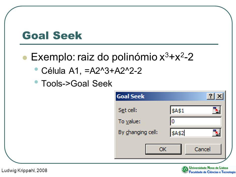 Ludwig Krippahl, 2008 4 Goal Seek Exemplo: raiz do polinómio x 3 +x 2 -2 Célula A1, =A2^3+A2^2-2 Tools->Goal Seek