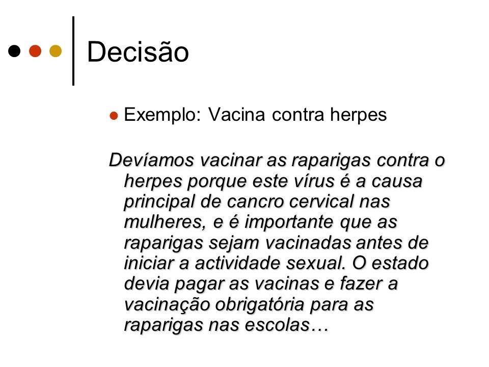 Decisão Exemplo: Vacina contra herpes Devíamos vacinar as raparigas contra o herpes porque este vírus é a causa principal de cancro cervical nas mulhe