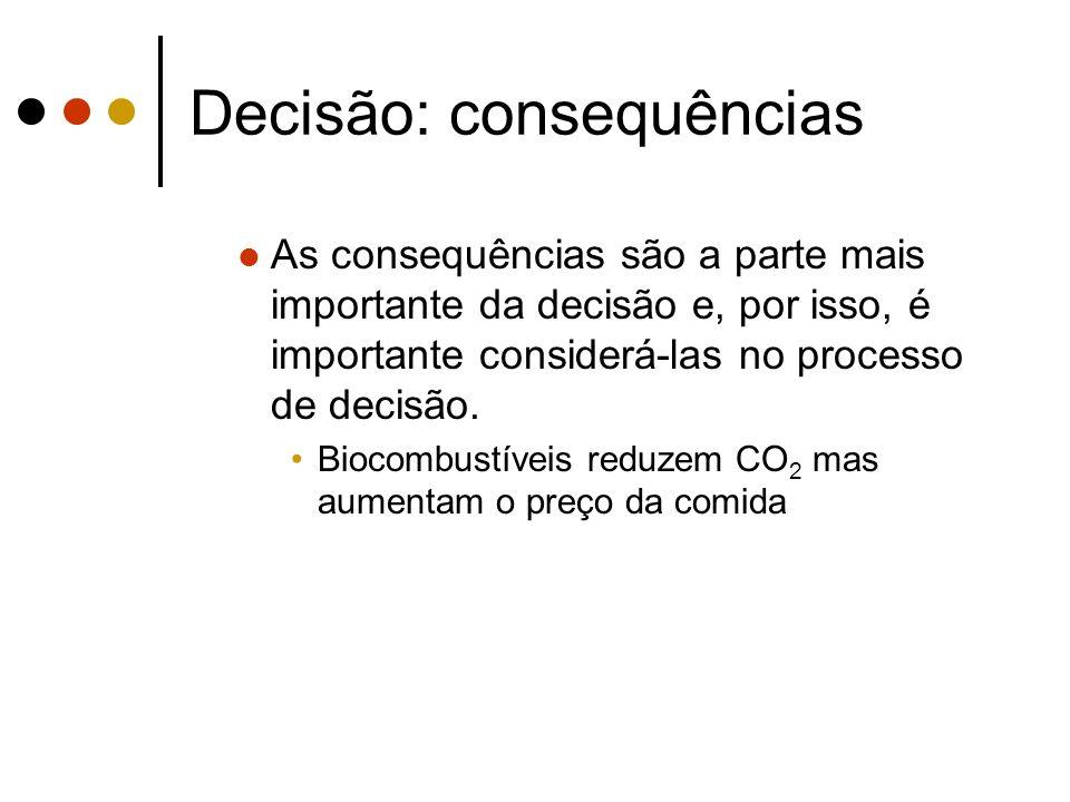 Decisão: consequências As consequências são a parte mais importante da decisão e, por isso, é importante considerá-las no processo de decisão. Biocomb
