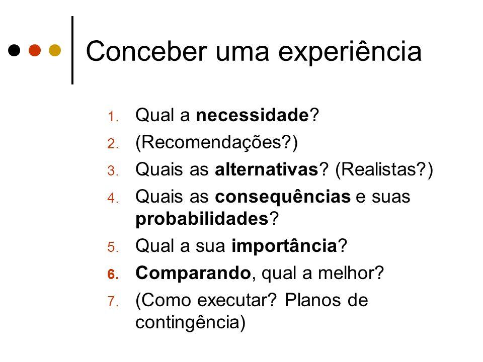 Conceber uma experiência 1. Qual a necessidade? 2. (Recomendações?) 3. Quais as alternativas? (Realistas?) 4. Quais as consequências e suas probabilid
