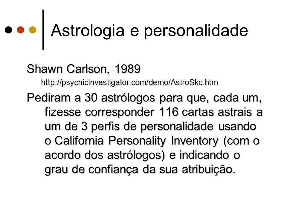 Astrologia e personalidade Shawn Carlson, 1989 http://psychicinvestigator.com/demo/AstroSkc.htm Pediram a 30 astrólogos para que, cada um, fizesse cor