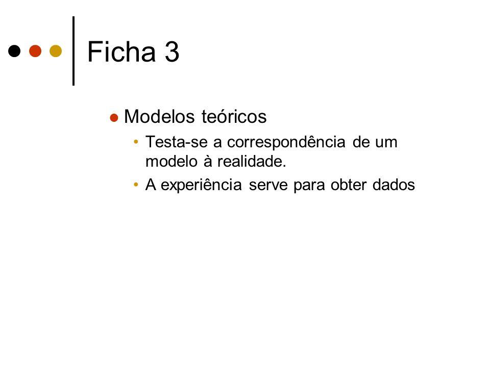 Ficha 3 Modelos teóricos Testa-se a correspondência de um modelo à realidade. A experiência serve para obter dados