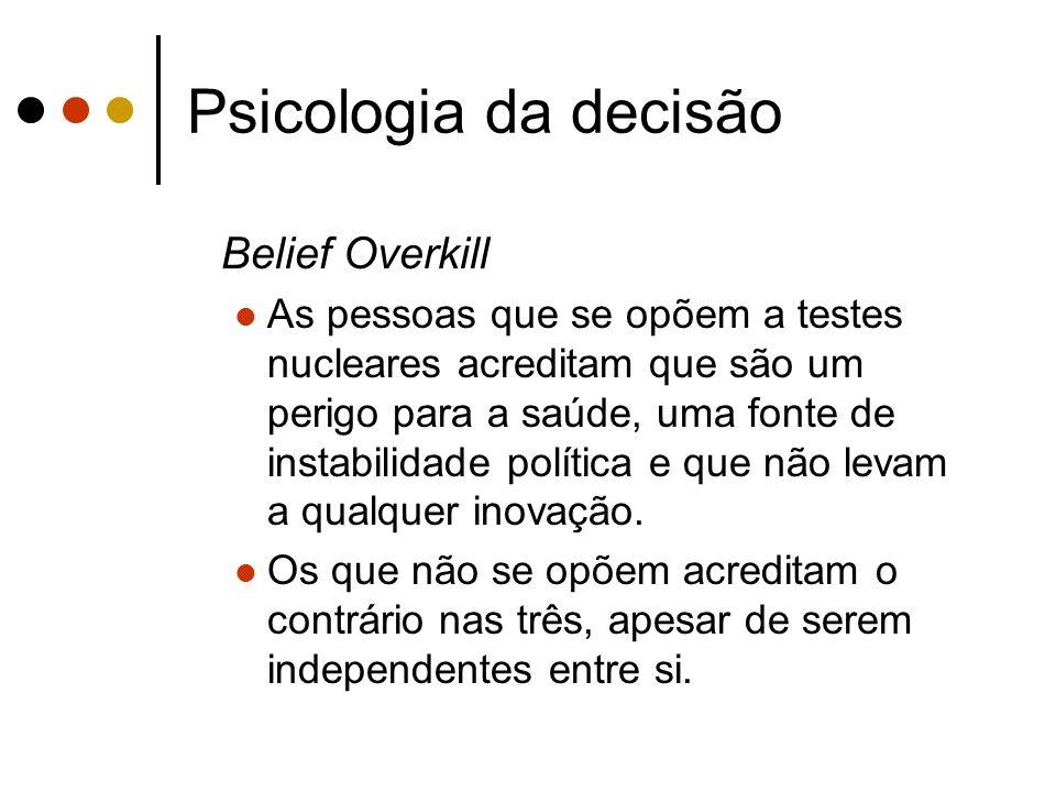 Psicologia da decisão Belief Overkill As pessoas que se opõem a testes nucleares acreditam que são um perigo para a saúde, uma fonte de instabilidade