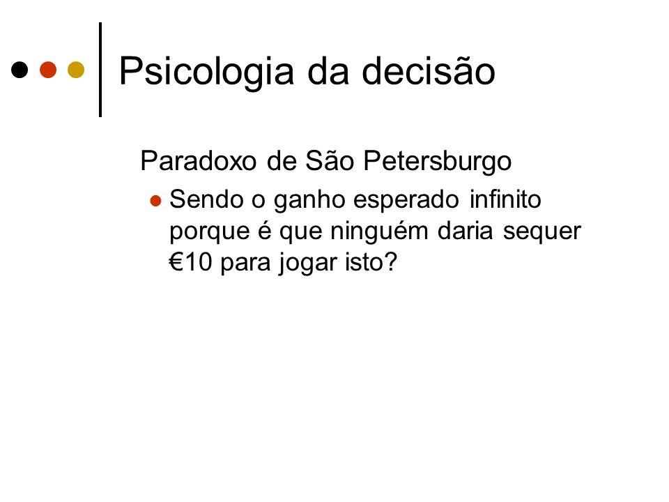 Psicologia da decisão Paradoxo de São Petersburgo Sendo o ganho esperado infinito porque é que ninguém daria sequer 10 para jogar isto?