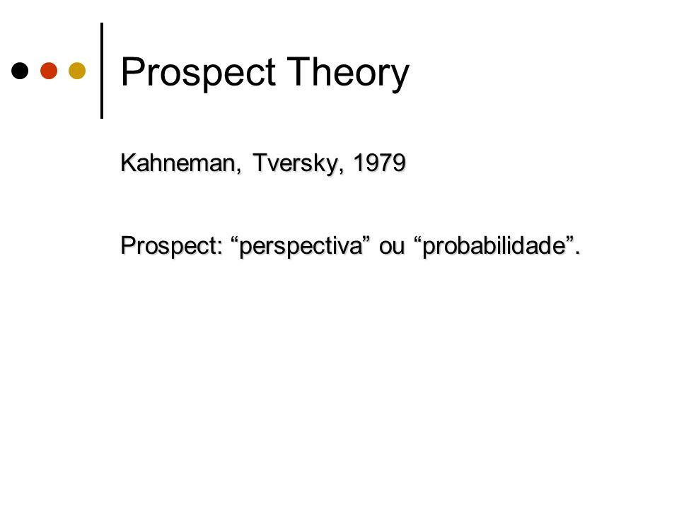 Kahneman, Tversky, 1979 Prospect: perspectiva ou probabilidade. Prospect Theory