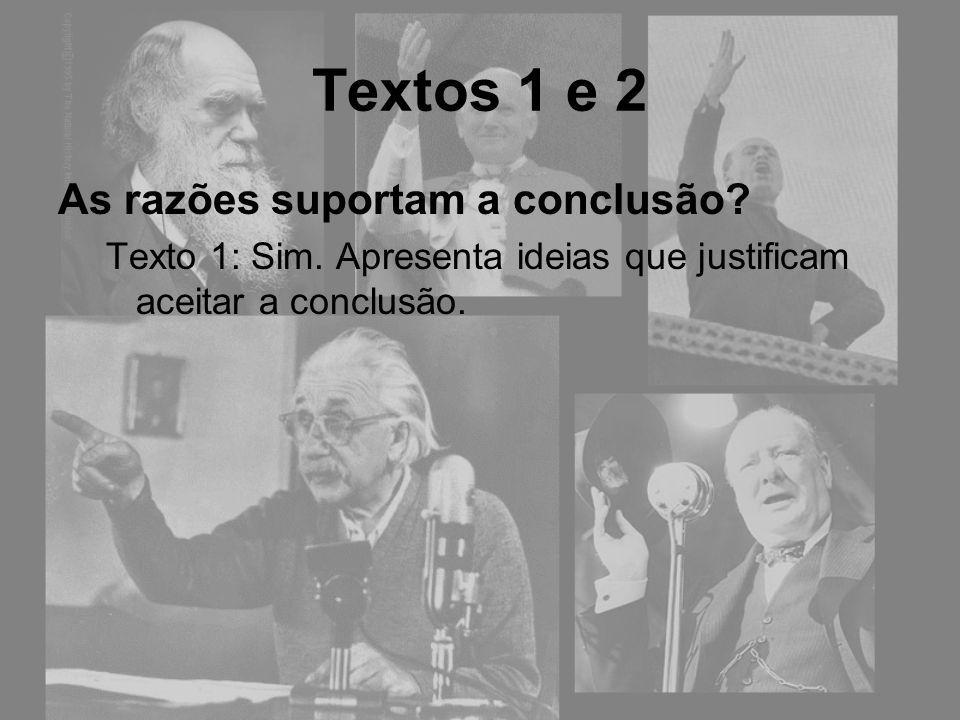 Textos 1 e 2 As razões suportam a conclusão? Texto 1: Sim. Apresenta ideias que justificam aceitar a conclusão.
