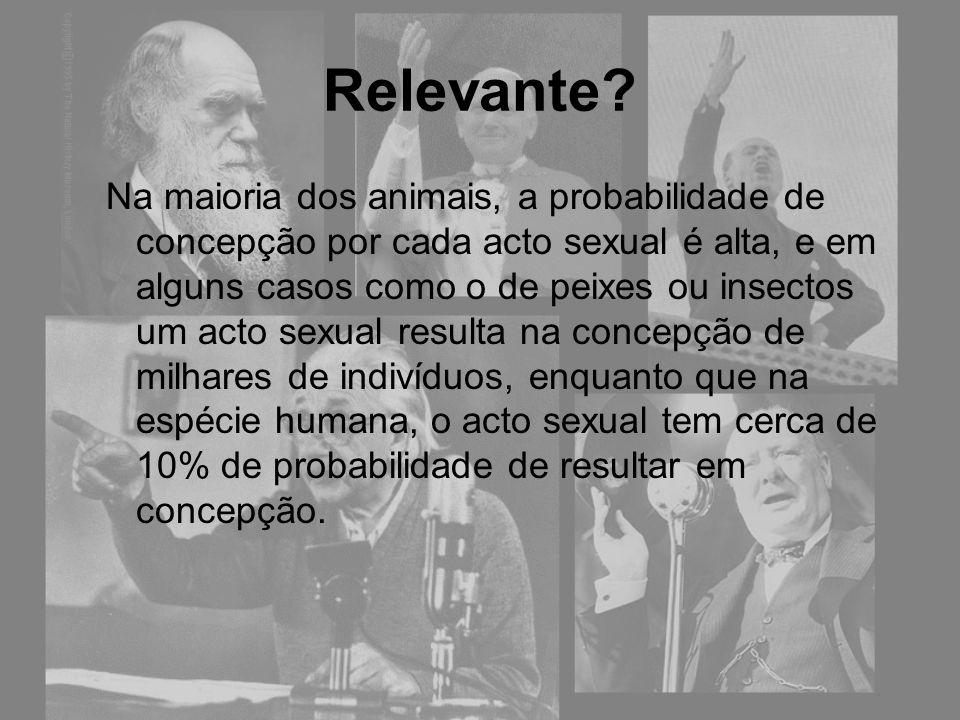 Relevante? Na maioria dos animais, a probabilidade de concepção por cada acto sexual é alta, e em alguns casos como o de peixes ou insectos um acto se