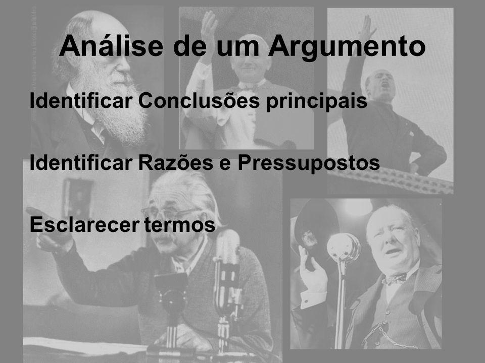 Análise de um Argumento Identificar Conclusões principais Identificar Razões e Pressupostos Esclarecer termos