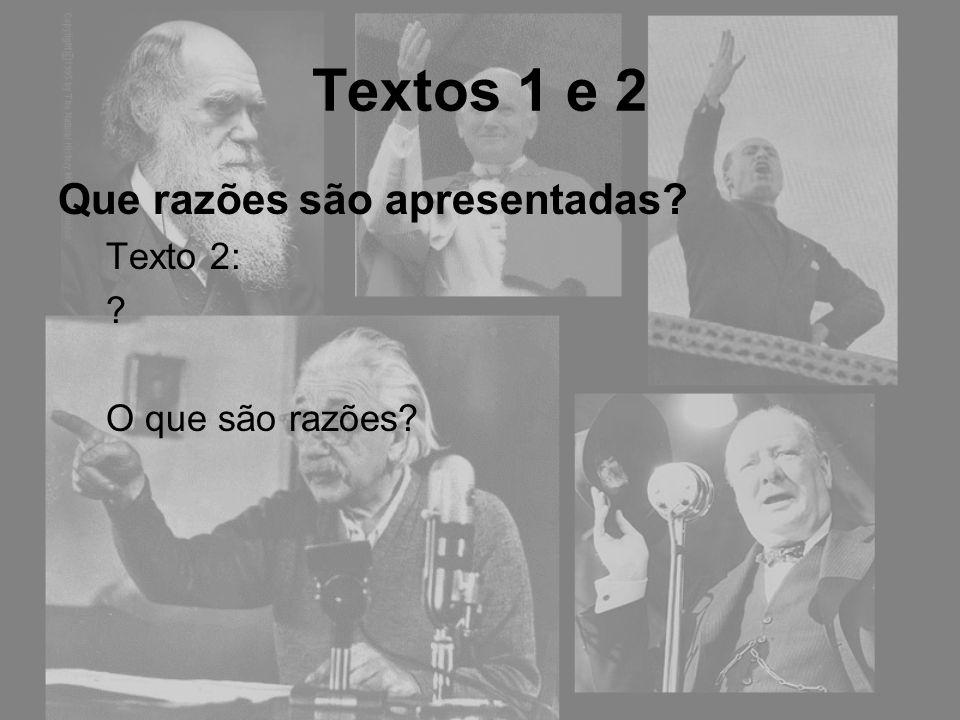 Textos 1 e 2 Que razões são apresentadas? Texto 2: O que são razões? Afirmações justificativas