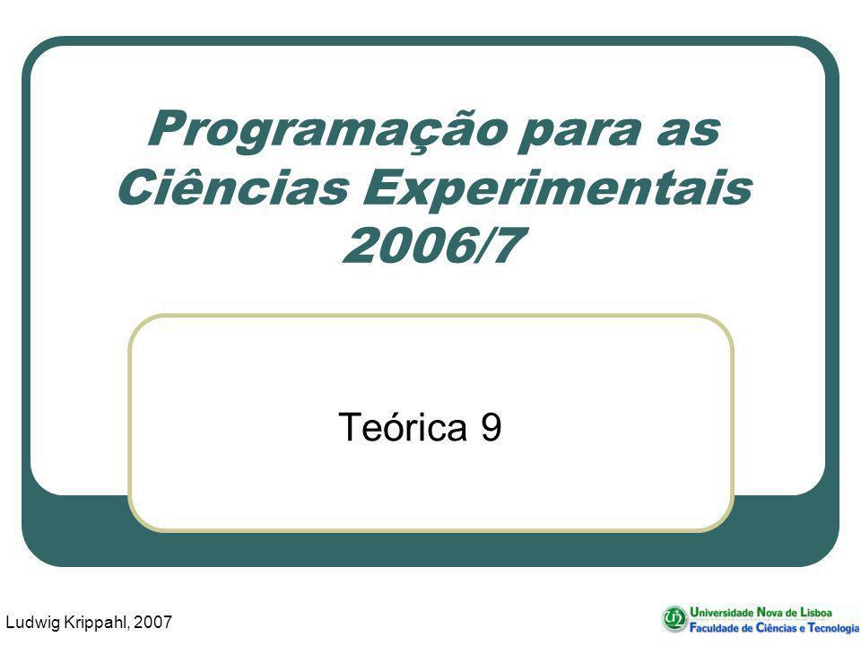 Ludwig Krippahl, 2007 Programação para as Ciências Experimentais 2006/7 Teórica 9