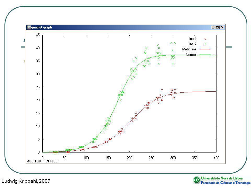 Ludwig Krippahl, 2007 101 Ajustar o modelo Compara-se no gráfico: