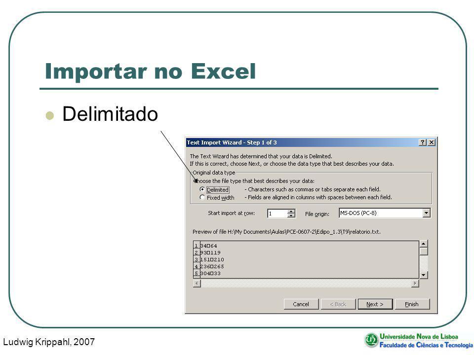 Ludwig Krippahl, 2007 109 Importar no Excel Delimitado