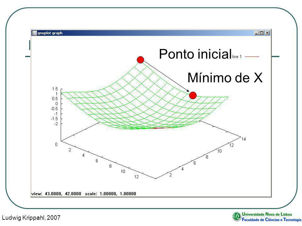 Ludwig Krippahl, 2007 13 Minimização multidimensional Ponto inicial Mínimo de X