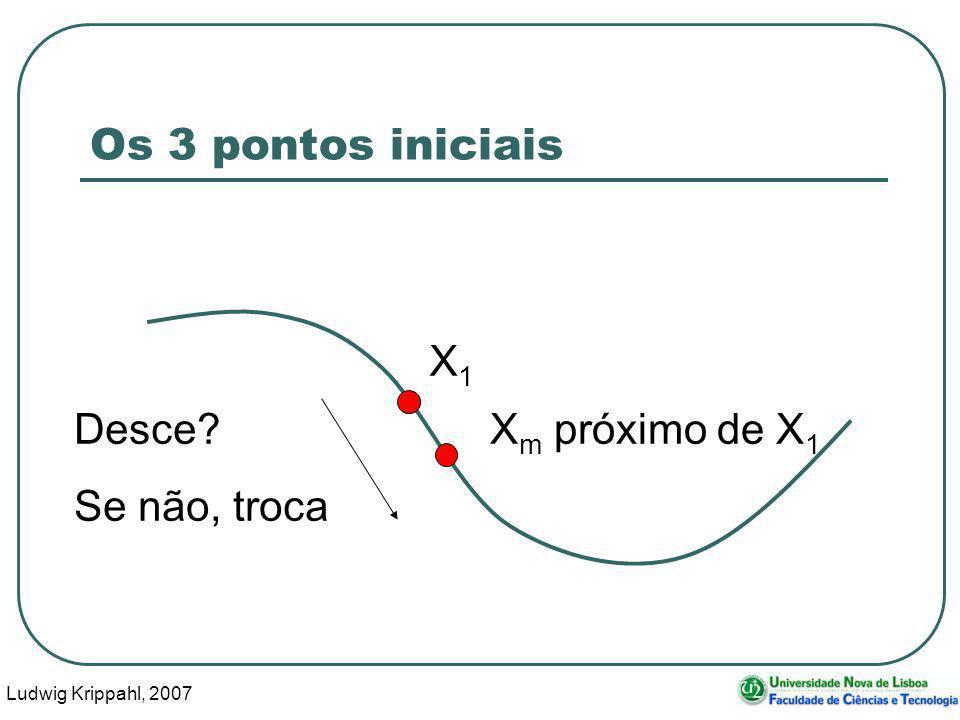 Ludwig Krippahl, 2007 19 Os 3 pontos iniciais X1X1 X m próximo de X 1 Desce? Se não, troca