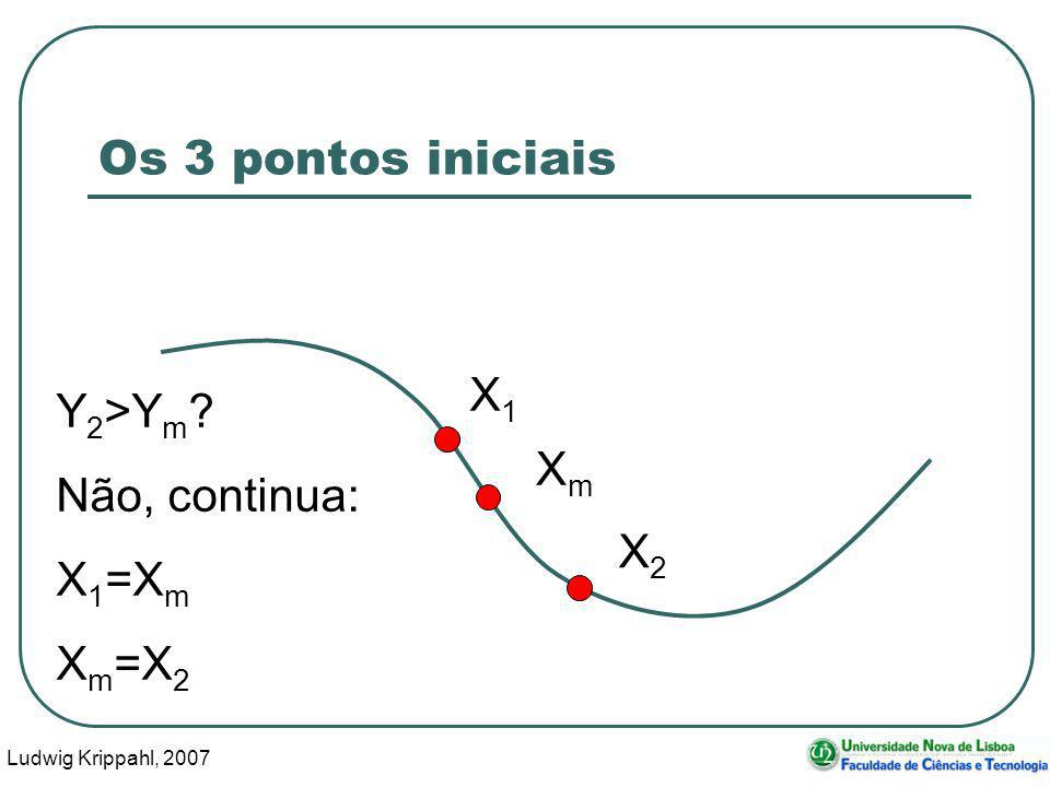 Ludwig Krippahl, 2007 21 Os 3 pontos iniciais X1X1 XmXm X2X2 Y 2 >Y m ? Não, continua: X 1 =X m X m =X 2