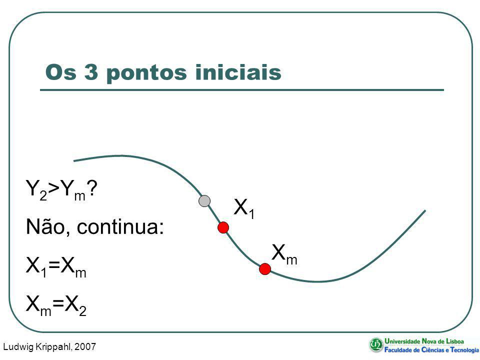 Ludwig Krippahl, 2007 22 Os 3 pontos iniciais X1X1 XmXm Y 2 >Y m ? Não, continua: X 1 =X m X m =X 2