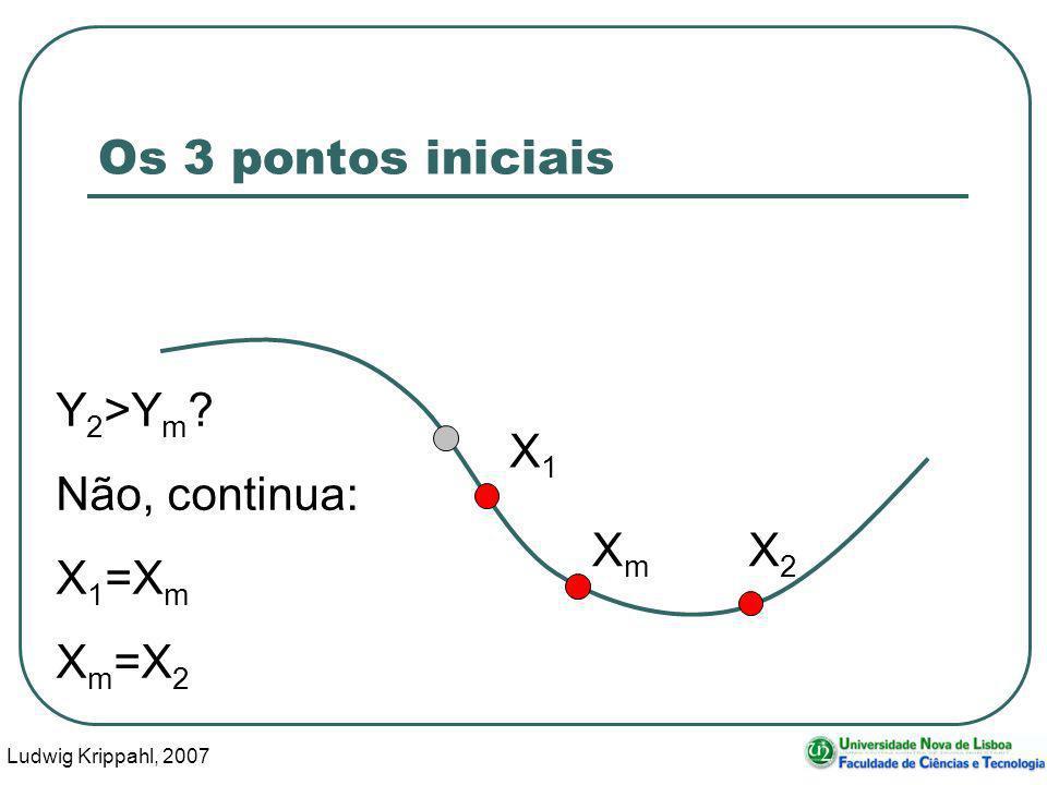 Ludwig Krippahl, 2007 23 Os 3 pontos iniciais X1X1 XmXm Y 2 >Y m ? Não, continua: X 1 =X m X m =X 2 X2X2