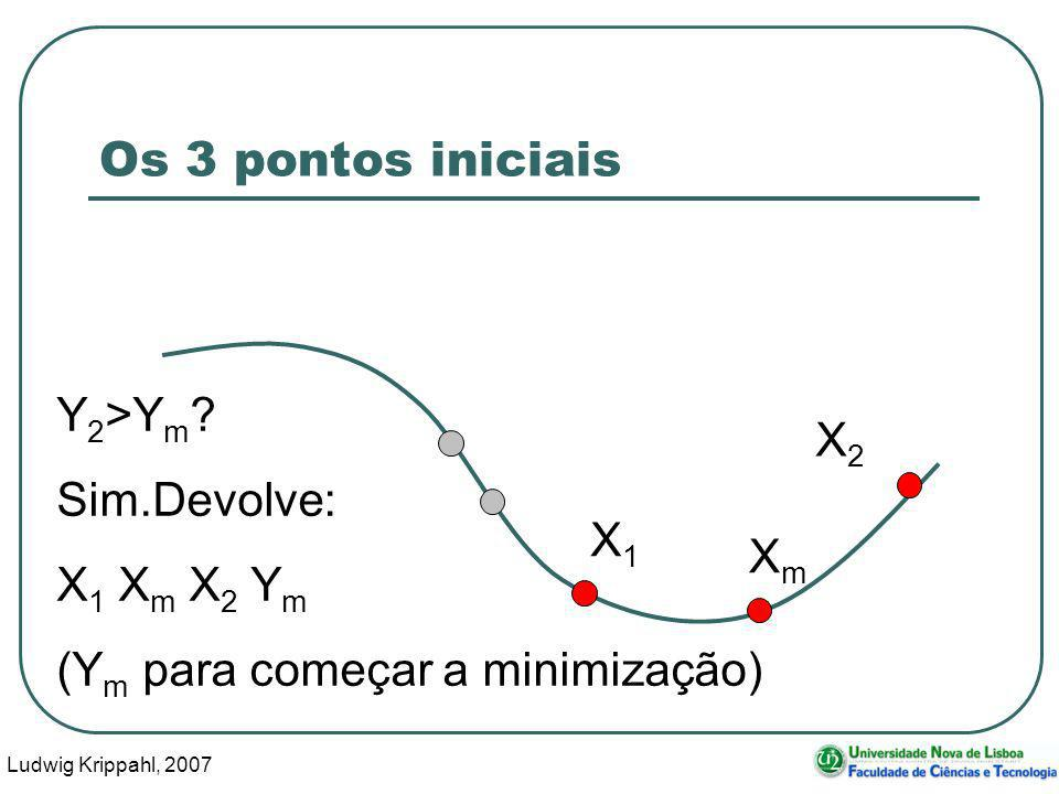 Ludwig Krippahl, 2007 24 Os 3 pontos iniciais X1X1 XmXm Y 2 >Y m ? Sim.Devolve: X 1 X m X 2 Y m (Y m para começar a minimização) X2X2
