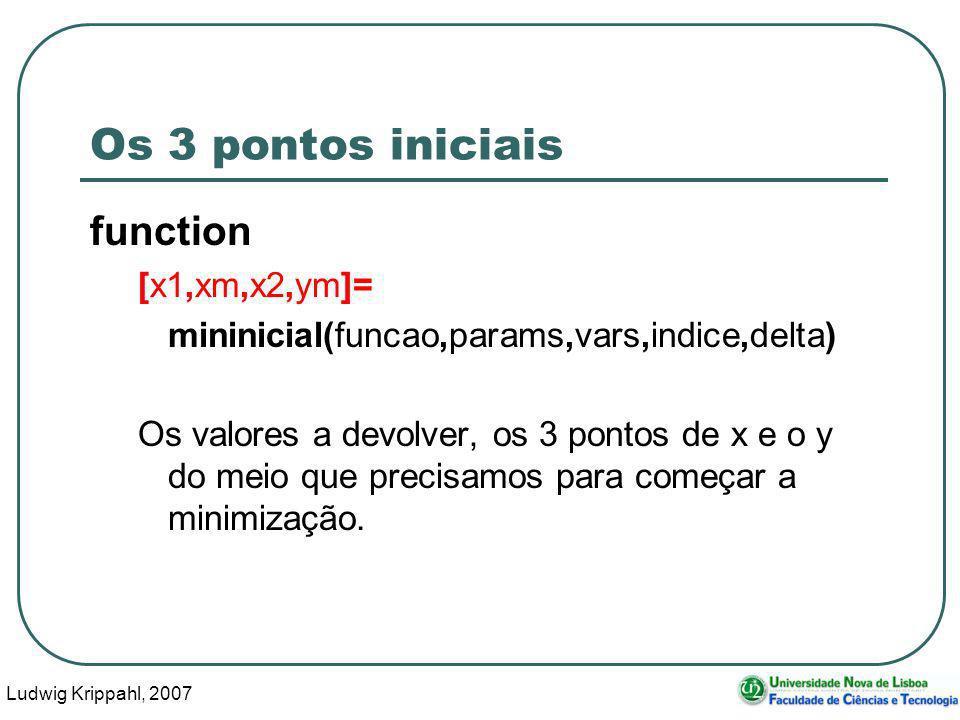 Ludwig Krippahl, 2007 26 Os 3 pontos iniciais function [x1,xm,x2,ym]= mininicial(funcao,params,vars,indice,delta) Os valores a devolver, os 3 pontos de x e o y do meio que precisamos para começar a minimização.