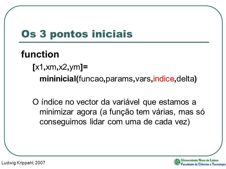 Ludwig Krippahl, 2007 29 Os 3 pontos iniciais function [x1,xm,x2,ym]= mininicial(funcao,params,vars,indice,delta) O índice no vector da variável que estamos a minimizar agora (a função tem várias, mas só conseguimos lidar com uma de cada vez)