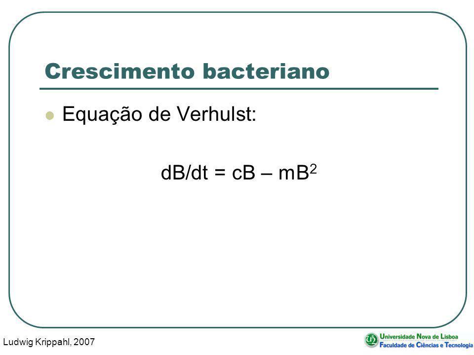 Ludwig Krippahl, 2007 3 Crescimento bacteriano Equação de Verhulst: dB/dt = cB – mB 2