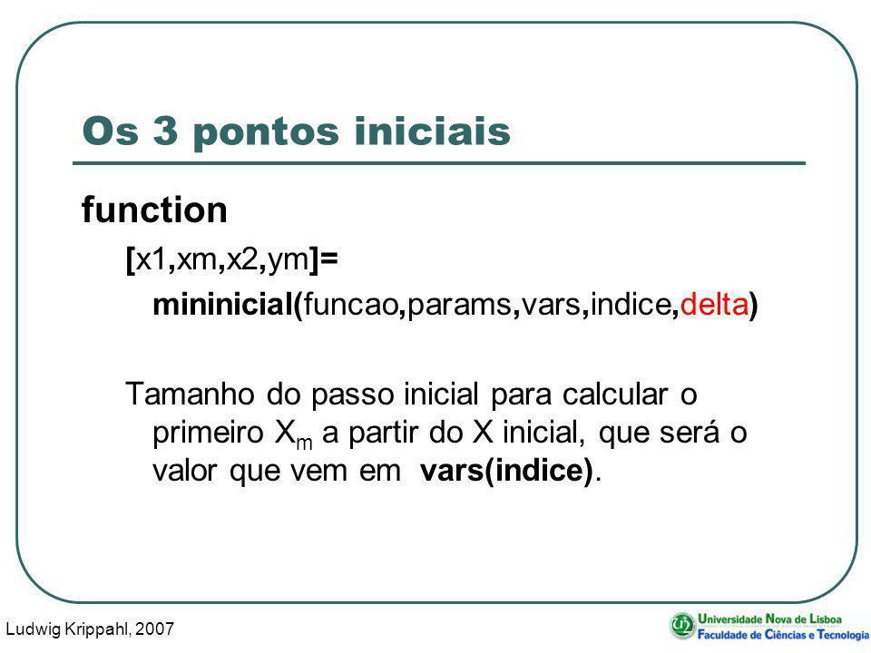 Ludwig Krippahl, 2007 30 Os 3 pontos iniciais function [x1,xm,x2,ym]= mininicial(funcao,params,vars,indice,delta) Tamanho do passo inicial para calcular o primeiro X m a partir do X inicial, que será o valor que vem em vars(indice).