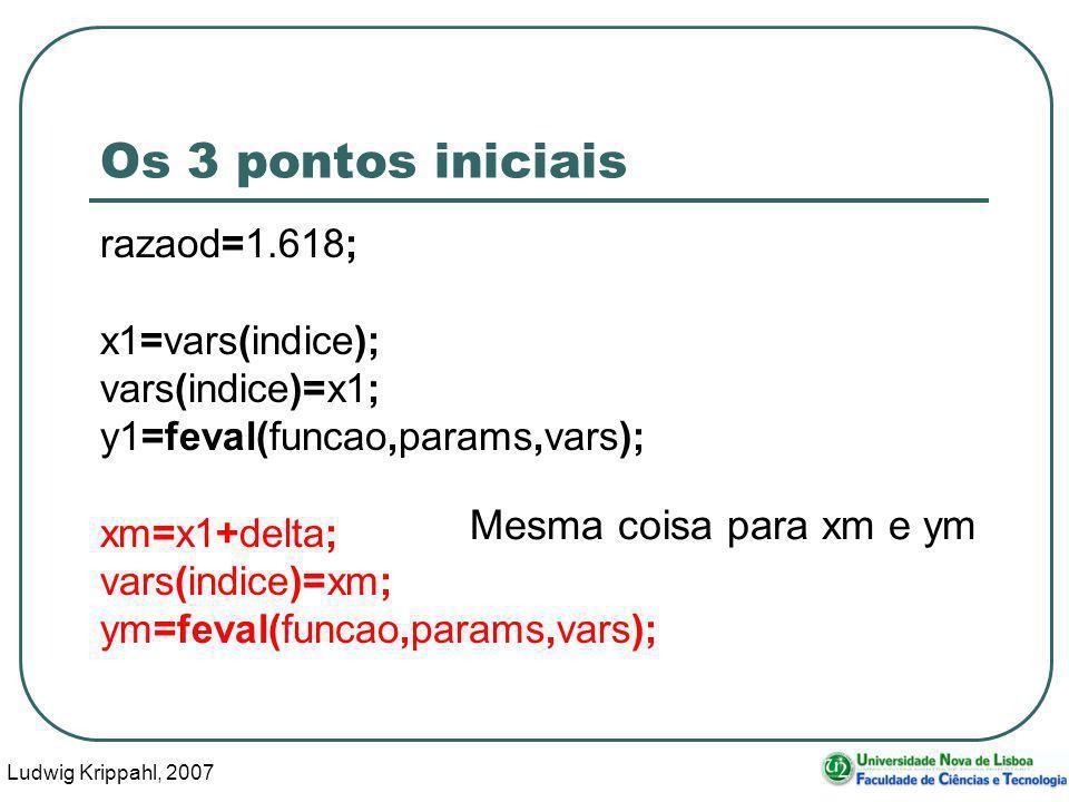 Ludwig Krippahl, 2007 33 Os 3 pontos iniciais razaod=1.618; x1=vars(indice); vars(indice)=x1; y1=feval(funcao,params,vars); xm=x1+delta; vars(indice)=xm; ym=feval(funcao,params,vars); Mesma coisa para xm e ym
