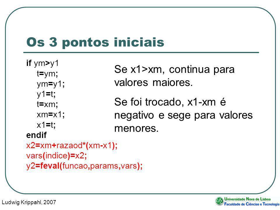 Ludwig Krippahl, 2007 36 Os 3 pontos iniciais if ym>y1 t=ym; ym=y1; y1=t; t=xm; xm=x1; x1=t; endif x2=xm+razaod*(xm-x1); vars(indice)=x2; y2=feval(funcao,params,vars); Se x1>xm, continua para valores maiores.