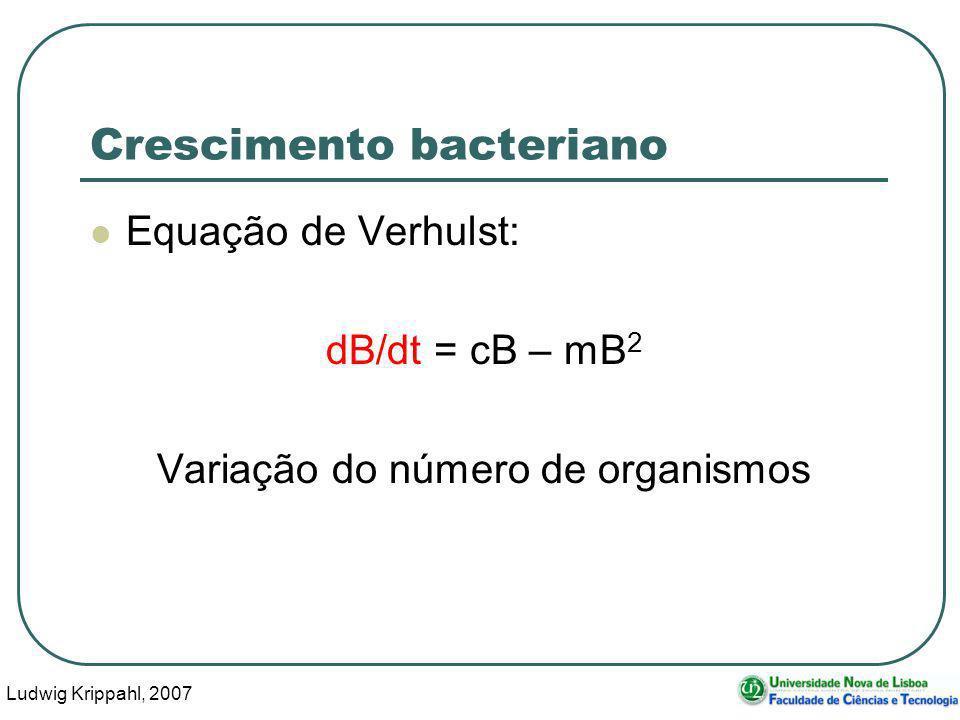 Ludwig Krippahl, 2007 65 Crescimento bacteriano mat=[0,qini]; B=qini; for t=dt:dt:tfinal dB=B*cresc-B^2*mort; B=B+dB*dt; mat=[mat;t,B]; endfor